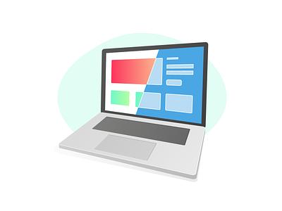 Form follows function concept macbook webdesign blueprint isometric ui ux design illustration