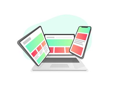 Responsive Design webdesign fluid responsive tablet ipad macbook iphone vector ux ui design illustration