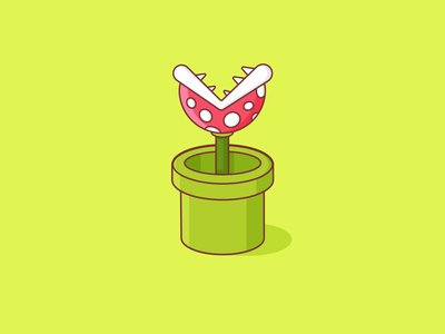 An ode to my childhood gameboy game plant mario super vector design comic isometric illustration