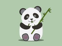 Cute Panda bear with bamboo stick