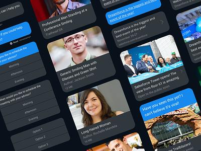 Dark Mode In-App Messaging Cards conversation chat ui bubbles conversational ui dark ui messaging chat dark mode