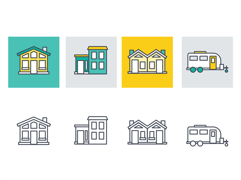 Housing Icons icons illustration mobile home duplex condo townhome house
