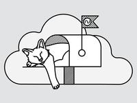 Mailbox Cat Illustration