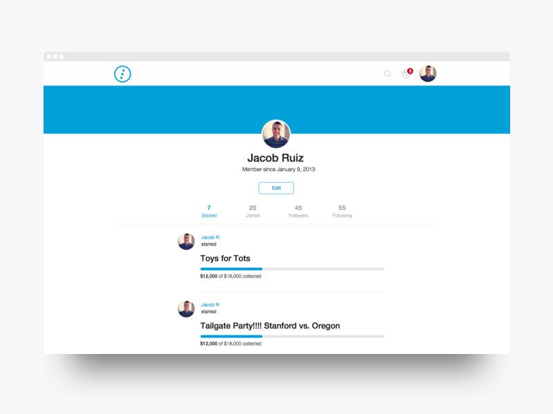 Tilt: Profile | Desktop column single profile header clean blue flat ui design