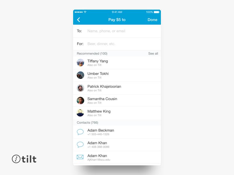 Tilt: Send Money | iOS san francisco iphone flat blue mobile ui design ios