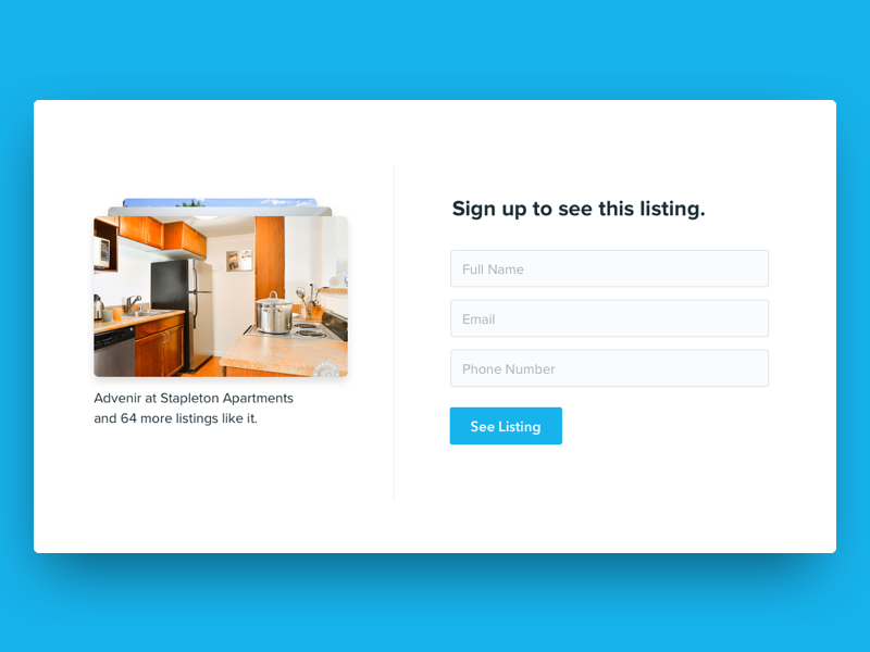WIP Sign Up Lightbox white minimalist clean blue modal sign up lightbox