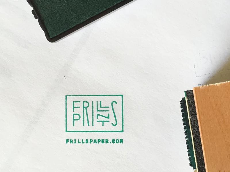 frills prints typography type monoweight lettering design identity stamp prints paper branding logo