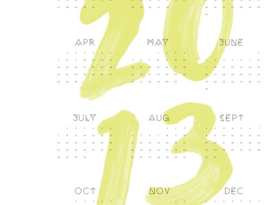 calendar hand type illustrated watercolor painted calendar paper goods 2013 new year