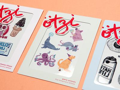 ötzi temporary tattoos debut branding packaging illustration design temporary tattoos