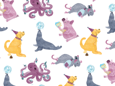 party animals watercolor patterns pattern characters digital illustration illustration