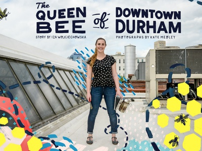 The Queen Bee of Downtown Durham color pattern illustration editorial