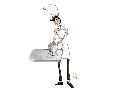 Monsieur le Chef cartoon concept patissier sauce cook illustration dessert french character character design mograph mentor saucier chef
