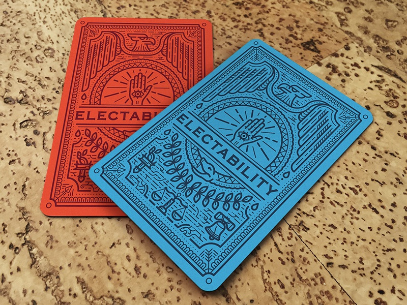 Electability Card Game bernie clinton trump republican democrat election cards game illustration card game