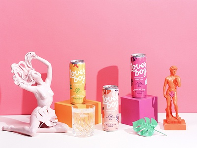 Loverboy cpg identity logo illustration branding pop roman alcohol cans art direction photography packaging