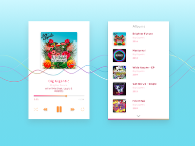 Music Player app minimal ios ux ui favorite inspiration design mobile player music app