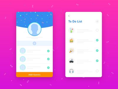 App for Party list to-do profile wireframe confetti mobile ios event party app