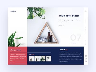Morel.co blog grid product minimal things little red blue white webdesign landing webpage