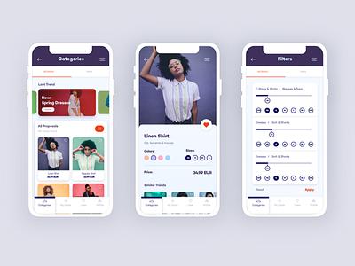 E-commerce Experience mobile ui ux ios app filters detail categories online shop ecommerce