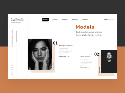 LaProfil landing board white black clean models website agency