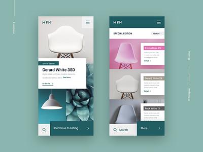E-commerce Concept minimal design ux ui product collection mobile search listing eshop app ecomerce