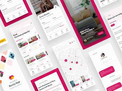 Resty App ux ui pink materio map listing chat profile detail mobile app concept app