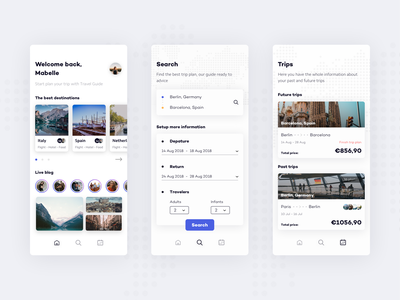 Trip Guide clean ux ui listing blog search guide travel welcome mobile app