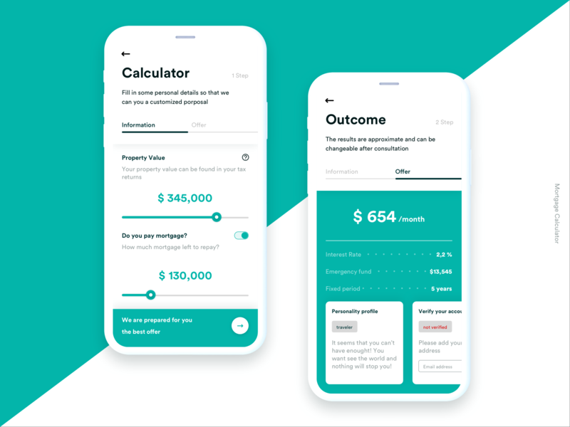 Mortgage Calculator ui  ux ux design mortgage calculator mobile app