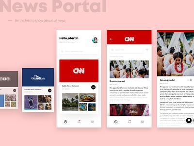 News Portal ui mobile detail listing cards portal minimal concept app