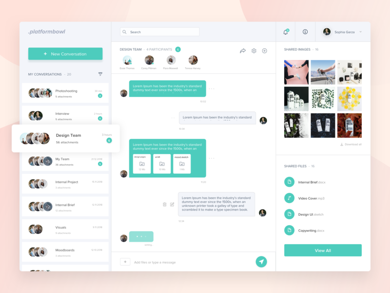 Platform Bowl ux  ui message chat design desktop shared conversation platform dashboad