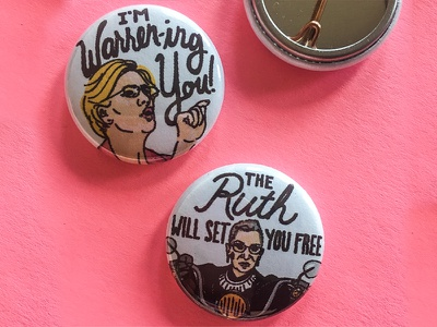 Rally Pins elizabeth warren ruth bader ginsberg buttons illustration rally political pins