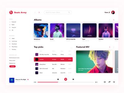 Music Dashboard red flat design app ue ui beats dashboard music