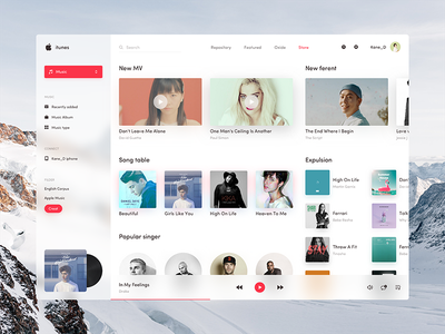 itunes app redesign apple itunes ued white black app ux ui music ios mac flat design