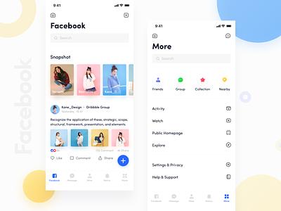 Facebook App_02 icon typography facebook app facebook design ux ue blue ui app