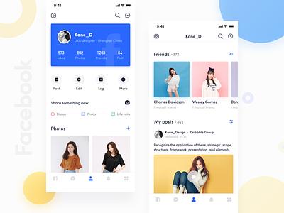 Facebook App_08 kane-d kane design facebook typography line icon ue ux blue ui app