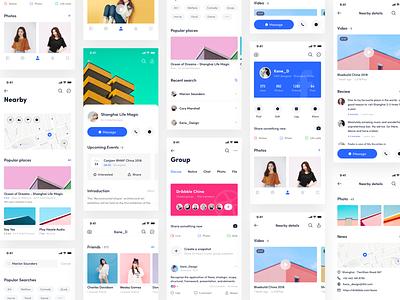 Facebook App_11 login dashboard,app,date facebook music dashboard design kane kane-d icon line ux ue blue ui app