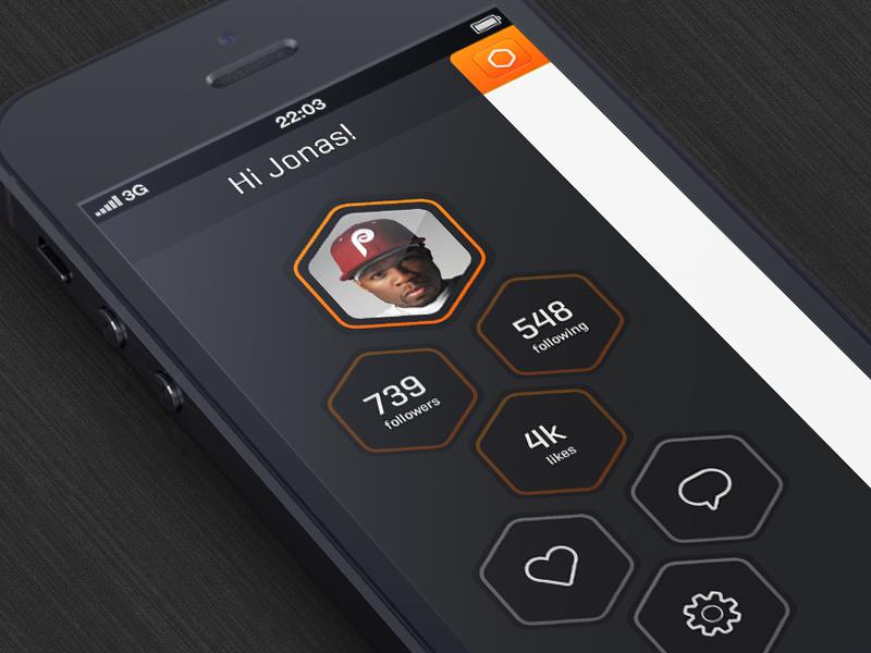 App app ui ios 50 cent polygon ux iphone orange dark clean jonas goth heart favorite settings follow following followers hexagon