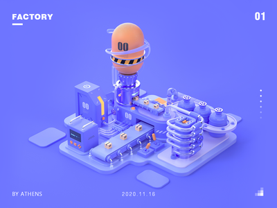 Machinery factory of C4d visualization mechanics factory 物流 机械化 工厂 科技 3d c4d design originality illustrations