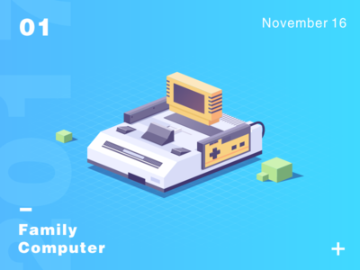 Family Computer machines recreational isometric illustration computer family china