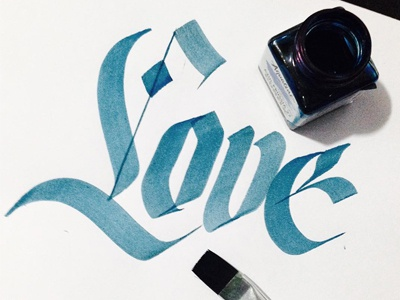 Love calligraphy type handmade lettering typography
