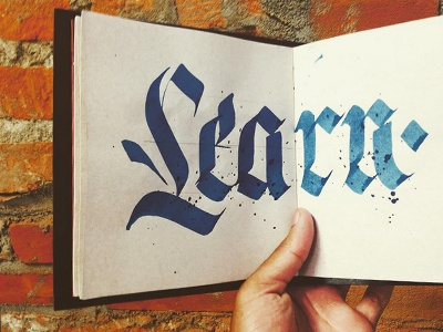 Learn. watercolour fraktur blackletter typography calligraphy lettering