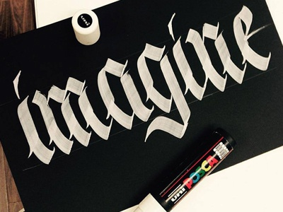 Imagine calligraphy handmade typography lettering