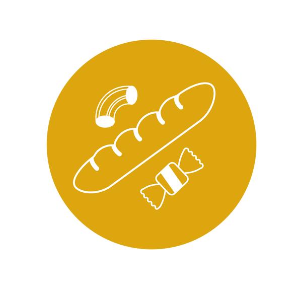Category Icon - Bread & Pasta vectors graphic  design design flatcolor illustration illustrator category icons category round yellow baguette pasta bread