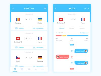 Euro2016 APP ios design cards euro2016 football ui app