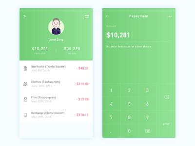 Credit Card App Design ui card credit green ios design cards app