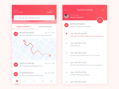 Express Tracking App Design ui red ios design quickly tracking express app