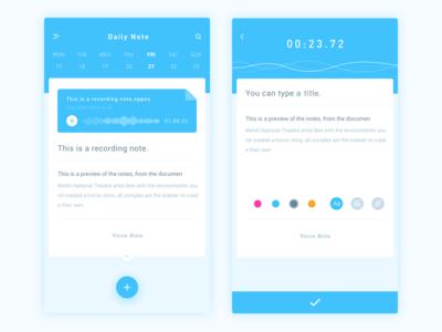 Daily Note App Design recording record ui blue ios design voice note daily app