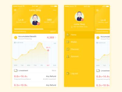 Financial investment App Design profile ui investment financial yellow ios design chart cards app