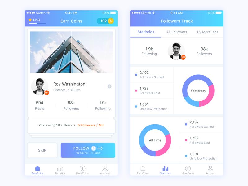 MoreFans App Design statistics earn coins purple red blue follow ios app fans more followers