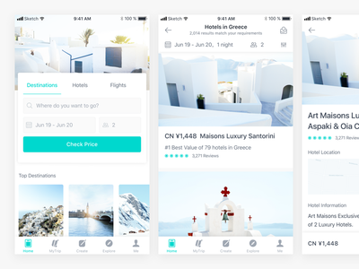 Travel App Concept diary book filghts ios hotels ticket travel trip icons blue app