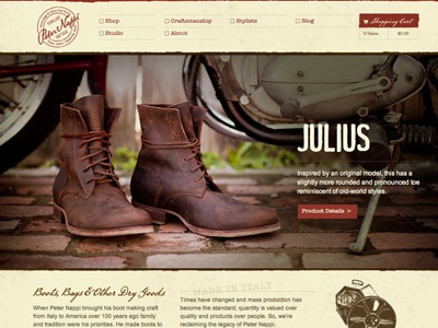 Site Launch: Peter Nappi boots ecommerce website web photography